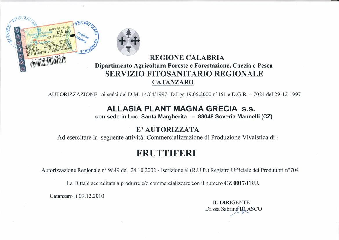 Autorizzazione vendita piante da frutto