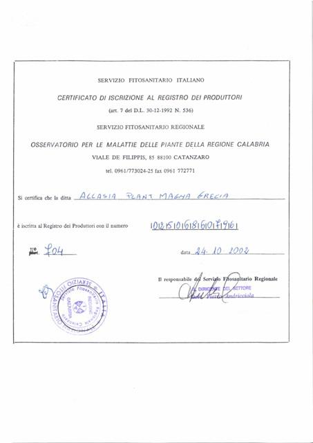 Certificato di iscrizione al registro produttori